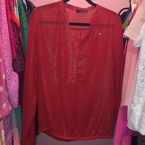 The Limited Red and Gold Sheer Blouse